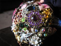 multicolored brooch bouquet
