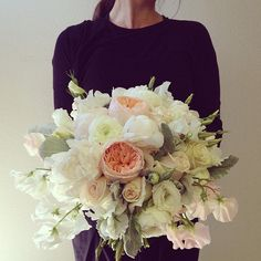 Soft pastel bouquet. Blush and white garden roses, peonies, lisanthus, sweet pea