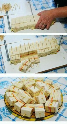 Toma nota de estas llamativas ideas para presentar dulces, frutas, postres o bocadillos en un buffet o mesa de fiesta. Mini Sandwiches, Easy Finger Sandwiches, Baby Shower Sandwiches, Breakfast Sandwiches, Baby Shower Food Easy, Easy Wedding Shower Food, Baby Shower Finger Foods, Food Baby, Snacks Für Party
