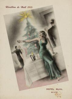 Repas de réveillon, hôtel Ruhl, Nice, 24 décembre 1935, Bibliothèque municipale de Dijon — M_III_02217