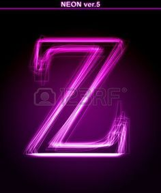 Glowing neon letter on black background. Letter Z. (Full font in portfolio. Search by