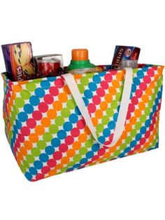 $13.50 Striped Tropical Dots Collapsible Haul-It-All Utility Tote