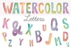 Check out Watercolor Letters- Clip Art by angiemakes on Creative Market