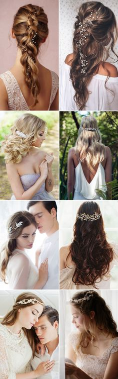 26 Glamorous Bridal Hairstyles with Exquisite Hair Adornments! Bridal Party Dresses, Bridal Bouquets, Perfect Wedding, Dream Wedding, Wedding Hairstyles, Hair Makeup, Hair Beauty, Hair Accessories, Glamour