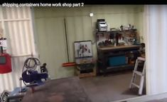 Shipping container shop set up for metal & mechanical work — some extremely nifty details Container Shop, Shipping Container Homes, Garage Design, Garage Workshop, Nifty, Shops, Metal, Shopping, Container Store