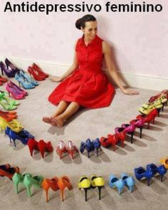 Stock Photo : Woman surrounded by perfect shoes