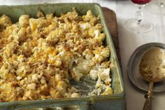 Bland cauliflower gets exciting when partnered with shredded Cheddar and crispy stuffing. Baked Cauliflower, Cauliflower Recipes, Side Dish Recipes, Vegetable Recipes, Cooking Recipes, Healthy Recipes, What's Cooking, Keto Recipes, Frozen Green Beans