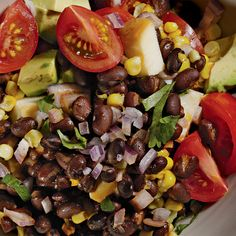 Delicious black bean, mozzarella salad w/so many healthy ingredients. High fiber/low fat! Looks good