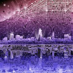 Title  Cleveland Skyline Abstract   Artist  MB Art factory   Medium  Painting - Digital Art
