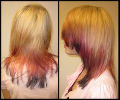 """Dip dye i rosa och """"bläck"""". Gjort av Linda."""