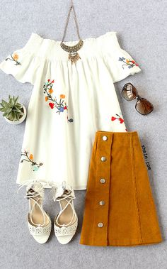 White Smock Off The Shoulder Embroidery Blouse Really love how a top and a skirt can go together. Boho Fashion, Autumn Fashion, Womens Fashion, Fashion Trends, Spring Summer Fashion, Spring Outfits, Casual Outfits, Cute Outfits, Estilo Hippie