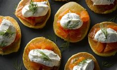 Warm potato blinis with smoked salmon, crème fraîche and dill: Perfect for Christmas Eve. Photograph: Colin Campbell for the Guardian Christmas Food Treats, Xmas Food, Christmas Foods, Christmas Buffet, Christmas Lunch, Merry Christmas, Christmas Starters, Delia Smith, Irish Recipes
