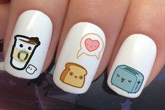 nail decals 336 kawaii cute breakfast toaster coffee toast by Nailiciousuk Nail Art Set, Cute Nail Art, Cute Acrylic Nails, Cute Nails, Pastel Nails, Food Nail Art, Girls Nail Designs, Nail Art Designs, Red Nails