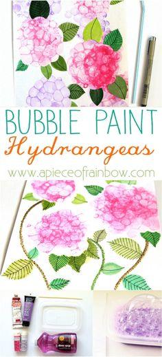 DIY bubble paint Hydrangeas | A Piece of Rainbow