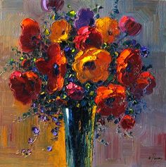Poppies Bouquet - 30 x 30 Original Oil on Canvas
