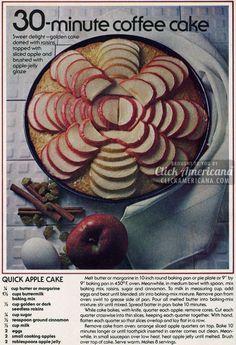 Quick Apple Coffee Cake recipe 1978
