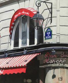 """Daily Paintworks - """"Le Bar du Marche II"""" - Original Fine Art for Sale - © Andre Beaulieu"""