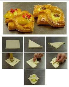 Tart with fruit Puff Pastry Appetizers, Puff Pastry Desserts, Puff Pastry Recipes, Bon Dessert, Dessert Recipes, Baking Buns, Croissant Recipe, Pastry Design, Bread Shaping