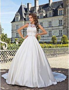 Bata de pelota joya Capilla Satén vestido de novia