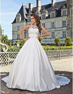 Ball Gown Jewel Chapel Train Satin Wedding Dress