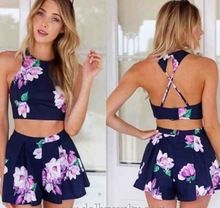 2015 Summer Casual Playsuit Outfits Crop Tops Shorts Macacao Feminino Backless Rompers Womens Jumpsuit S,M,L,XL 38 Short Beach Dresses, Sexy Dresses, Casual Dresses, Cheap Dresses, Party Dresses, Formal Dresses, Two Piece Dress, Two Piece Outfit, Crop Top Und Shorts