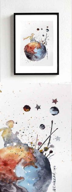 nouveau le petit PRINCE ORIGINAL aquarelle Le Petit par EmelArt                                                                                                                                                                                 Plus