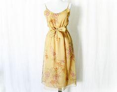 Vintage 70s Sheer Cascade Floral Dress S Belted - PopFizzVintage, $40.00