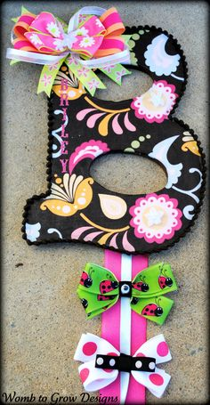 Large Custom Initial HAIR BOW HOLDER by WombtoGrowDesigns on Etsy, $20.00