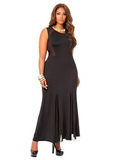 Fashion Bug Womens Plus Size Sheer Panel Maxi Dress www.fashionbug.us #plussize #FashionBug