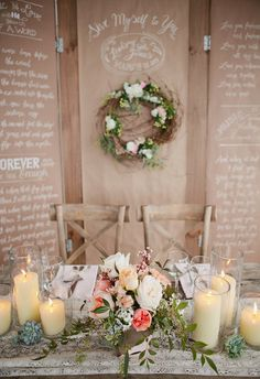Candles on sweetheart table