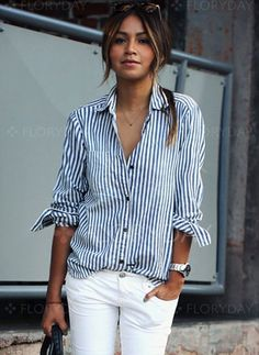 Blusas - - Raya Casuales Algodón Cuello Manga larga Blusas (1645149075) Mode Outfits, Casual Outfits, Camisa Vintage, Bluse Outfit, Mode Boho, Inspiration Mode, Striped Long Sleeve Shirt, Casual Tops, Casual Shirt
