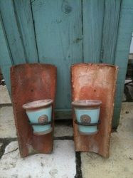 Ancient Tile Candle Holder Made From Old Roof Tiles From