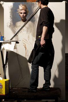 Casey Baugh painting in his art studio #workspace