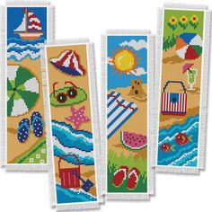 Cross Stitch Kit - Day at the Beach Bookmarks Set of 4 by CrossStitchKitsOnly on Etsy Cross Stitch Sea, Cross Stitch Beginner, Cross Stitch Books, Cross Stitch Bookmarks, Counted Cross Stitch Kits, Cross Stitch Designs, Cross Stitch Patterns, Cross Stitching, Cross Stitch Embroidery