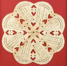 Valentine Love Token, Paper Cutout by Cornelius Van Winkle Bergen County 19th Century