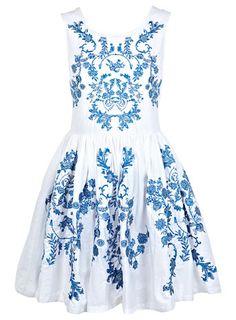 China Blue Embroidered Dress - Miss Selfridge