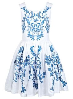China Blue Embroidered Dress