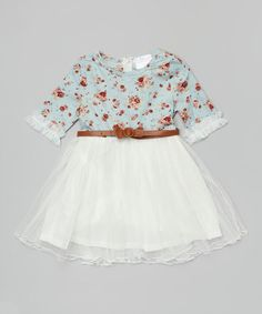 Look what I found on #zulily! Blue & White Floral Chiffon Belted Dress - Toddler & Girls #zulilyfinds