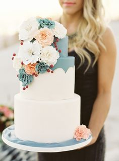 White, muted blue + blush cake