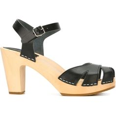 Swedish Hasbeens Suzanne Sandals (310 NZD) ❤ liked on Polyvore featuring shoes, sandals, black, swedish hasbeens sandals, swedish hasbeens shoes, black shoes, swedish hasbeens and kohl shoes