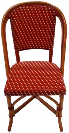"French Bistro Side Chair, Dimensions : 19 1/4"" Wide x 19 1/4"" Deep x 34""3/4""High ​ Weave: Straight Vertical Red Horizontal Ivory Wood Finish: Light Honey"