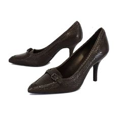 Tory Burch Brown Snake Embossed Leather Pumps