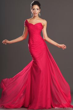 New Hot Elegant Lace Front Slit One Shoulder Mermaid Sweep Train ...