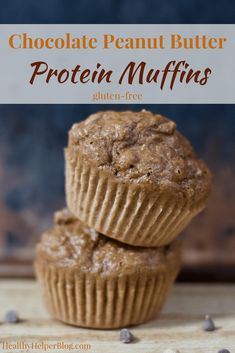 Chocolate Peanut Butter Protein Muffins   Healthy Helper @Healthy_Helper Fluffy n' light Chocolate Peanut Butter Muffins packed with PROTEIN! The perfect healthy snack for eating on the go when you want a sweet treat. Gluten-free, satisfying, and you only need one bowl to make them!