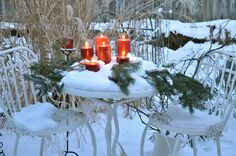 I did this one year...think I will again...  A holiday view from a window……Make the outside as pretty as the inside