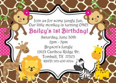 Free printable little monkey birthday invitation template birthday safari themed first birthday invitation wording filmwisefo Image collections
