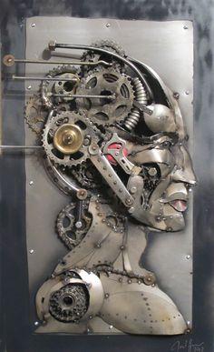 Joel Sullivan, Iron Designs, Nova Scotia. Male profile, metal art sculpture, steampunk, post modern, industrial, borg, recycled /SOLD