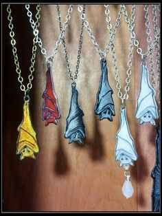 Eyescream Gothic Jewelry Originals - Hanging fruit bat pendants... hand painted and hand drawn in shrink film.