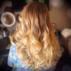 caramel to golden blonde ombre