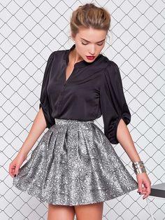 Krótka spódnica z wysoką talią srebrny